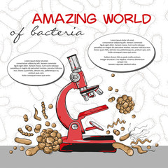 Poster of amazing world of bacteria with microscope on seamless pattern. Vector illustration