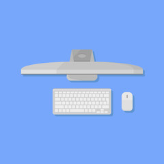 Desktop personal computer with monitor, keyboard and mouse flat style icon. Top view. Vector illustration.