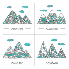 Set of mountains in doodle style. Hand drawn coloring vector illustration. For decorations, greetings, cards, invitations, t-shirts, posters, banners and prints.