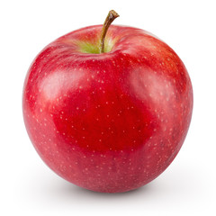 Red apple isolated on white background. Fresh raw organic fruit.