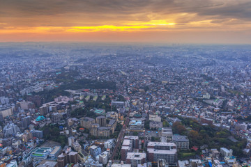 Aerial view of Yokohama city at sunset, Japan