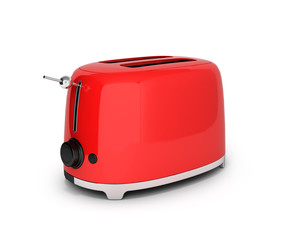Red retro toaster isolated on white background 3d
