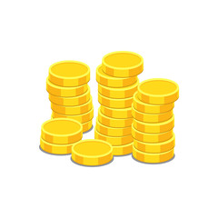 Money icon on white background. Coins vector illustration in flat style. Icons for design, website.