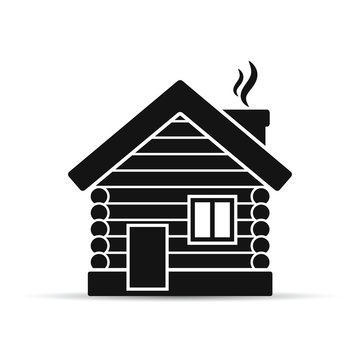Wooden house flat icon. Timbered and wood home illustration. Rural or country home sign. Vector illustration.