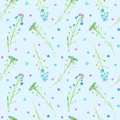 Floral seamless pattern of a forget-me-not flowers.Watercolor hand drawn illustration.Blue background.