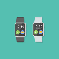 Set of smart watch flat style icons. Vector illustration.