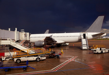 Airport detail in a stormy evening