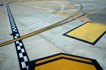 Airport road floor signs painted