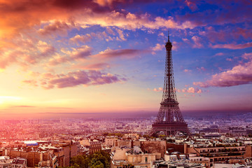 Fotobehang Eiffeltoren Paris Eiffel tower and skyline aerial France
