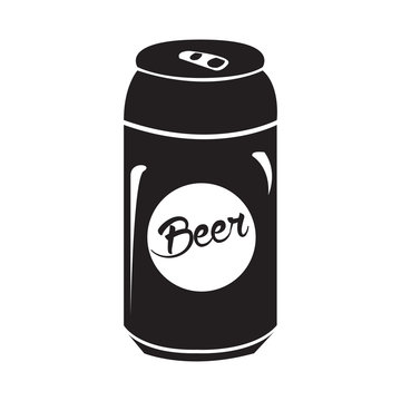 Isolated silhouette of a beer can, Vector illustration
