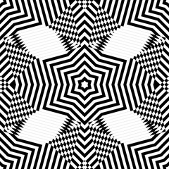 Abstract vector seamless moire pattern with waving circle lines. Monochrome op art, graphic with color points. Black and white ornament. Stars repeating texture.