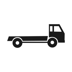 black silhouette of a truck. Road assistance.