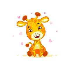 Emoji hello hi in love hearts you are cute character cartoon Giraffe sticker emoticon