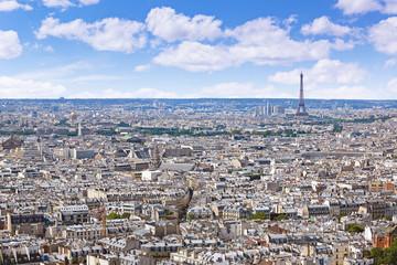 Paris skyline aerial from Montmartre