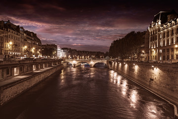 Paris Seine river sunset in France Saint Michel
