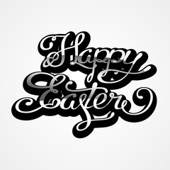 Happy Easter lettering card. Hand drawn lettering poster for Easter. Modern calligraphy typography background.