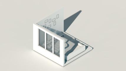 Isometric scene, 3d rendering room, amazing white rendering