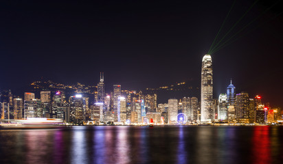 Stunning view of Hong Kong skyline and Victoria harbour seen from Harbour City from where is possible to attend the Symphony of Light, smooth water flowing in the foreground, Hong Kong.