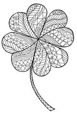 Doodle zentangle clover shamrock Saint Patrick's Day vector