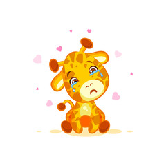 Emoji crying tears character cartoon Giraffe miss you sad frustrated sticker emoticon
