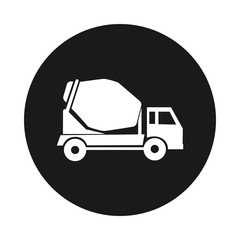 cement mixer truck. round icon. Construction lorry.