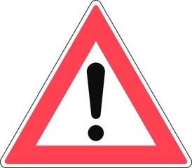 Gefahrzeichen an Gefahrenstelle