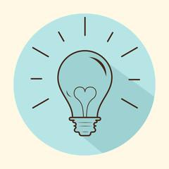Creative idea in light bulb shape as inspiration concept. Vector design element. Flat icon.
