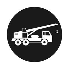 truck crane. The round black icon circle