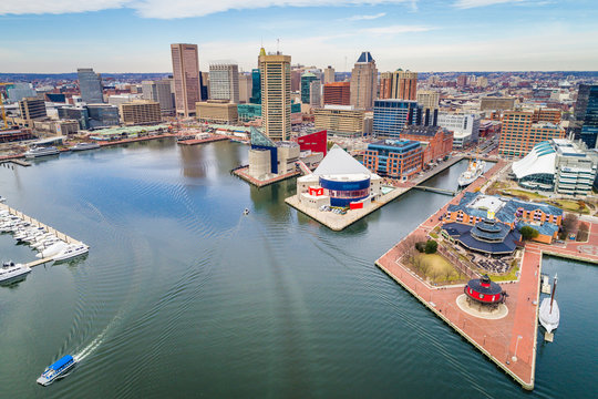 Aerial view of the Inner Harbor in Baltimore, Maryland.