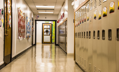 metal lockers in school hall