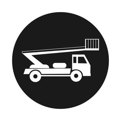 Boom Trucks icon. Black isolated
