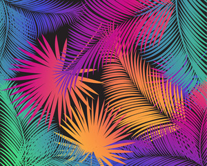 Carnival abstract colorful palm tree leaves pattern. Vector night party, tropical palm leaves frame, exotic, palm leaf, background