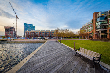 Bench and pier in Fells Point, Baltimore, Maryland.