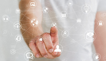 Businessman touching multimedia network 3D rendering