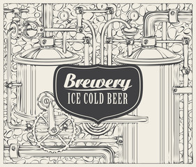 Vector banner with the brewery, beer production in retro style