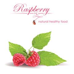 Beautiful raspberries on a white background.