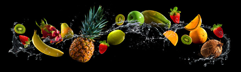 Aluminium Prints Fruits Fruits with water splash