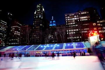 Ice Skating Rink Bryant Park New York City Skyline  Night