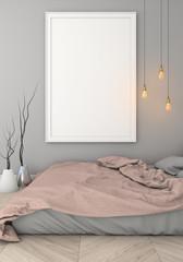 mock up poster frame in grey bedroom modern style interior background. 3d viz