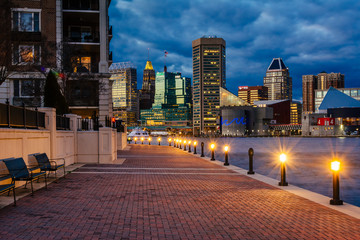 The Waterfront Promenade and Baltimore skyline seen at the Inner Harbor, in Baltimore, Maryland.