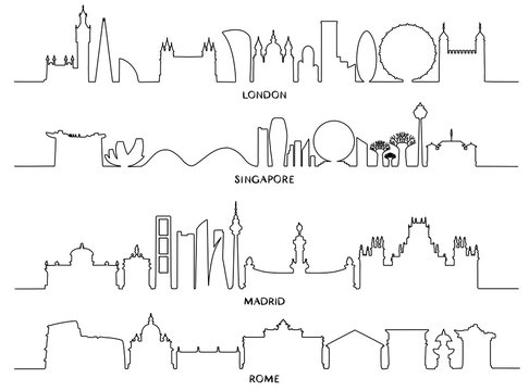 Cityscape, Vector Illustration design (London, Singapore, Madrid, Rome)