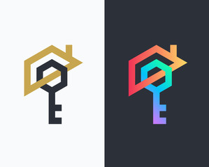 Geometrical house and key icon.