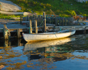 Nova Scotia fishing boat in the village of Peggy's Cove.
