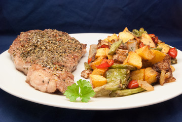 Entrecôte mit frittiertem Gemüse
