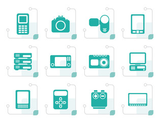 Stylized technical, media and electronics icons - vector icon set