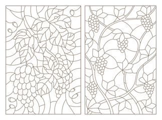 Set contour illustrations of stained glass with branches of grapes