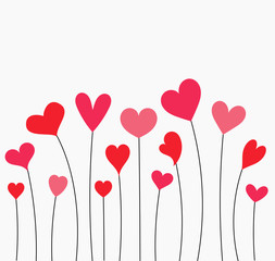 Cute red and pink hearts