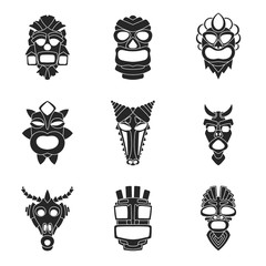 set of ancient tribal mask in black and white style