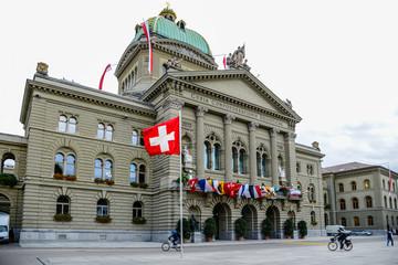 geschmücktes Bundeshaus, Bern, Schweiz