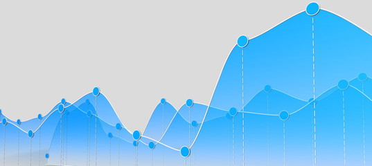 3D illustration of a curve chart or line graph